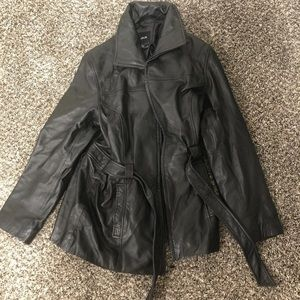 Vintage Real Black Leather Jacket Size Small